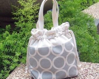 3 in 1 handbag / shoulder bag / crossbody bag ~ Circles on grey (A13)
