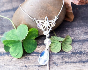Flower Necklace, Sterling Silver Necklace, Silver Crystal Necklace, Gift Idea, Gift for Her, Necklace, Valentine's Day