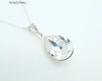Clear crystal Necklace  Silver Bridesmaid Necklace Swarovski Crystal Teardrop Pendant Bridal Necklace Wedding Jewelry Bridesmaid Gift