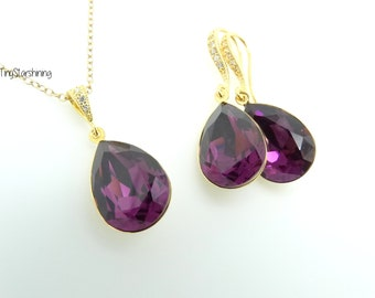 Gold Earrings Purple Earrings & Necklace Set Bridal Matching Set Swarovski Crystal Amethyst Purple Earrings Wedding Jewelry Bridesmaid Gift
