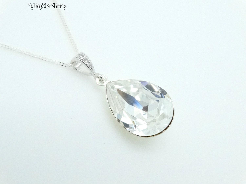 clear necklace silver bridesmaid necklace swarovski