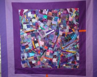 Purple Fine Art Quilt Collage Wallhanging
