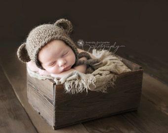 Baby Boy Newborn Bear Hat Knit Baby Hat Crochet Baby Hat Newborn Photo Prop Baby Beanie Hat