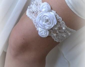 White Satin Ribbon Rolled Roses with Cross  Wedding Garter