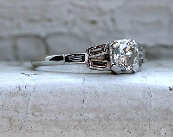 Gorgeous Vintage Art Deco Platinum Diamond Engagement Ring with Baguettes - 0.75ct.