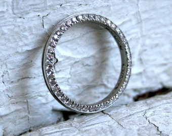 RESERVED - Gorgeous Vintage Platinum Pave Diamond Wedding Band - 0.90ct.