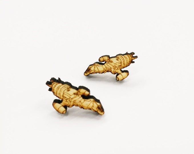 Firefly Serenity Ship Earrings   Laser Cut Jewelry   Hypoallergenic Studs   Wood Earrings