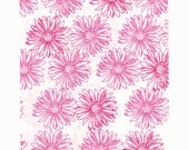 100 Pink Floral Paper Bags, 6 x 9 inches with Pink Flowers on White Paper - Flat Merchandise Bags