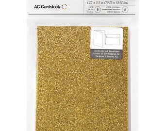 8 Sunflower Gold Glitter Cards and 8 White Envelopes - Blank, Heavy Cardstock for Embellishing - 4.25 x 5.5 Inches