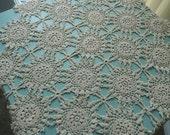 Antique Doily - Ecru Square Doily - Vintage Doily - Intricate Doily - Hand Crocheted Doily -  Medium Size Doily