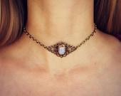 pink opal choker, opal choker, pink opal necklace, 90s choker,  hippie necklace, 90s fashion