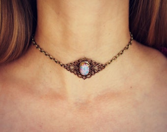 pink opal choker, opal choker, pink opal necklace, 90s choker,  hippie necklace, 90s fashion
