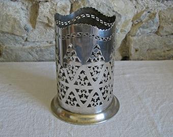 Tall wine bottle holder - antique hallmarked silver plate bottle coaster