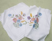 Vintage Floral Embroidered Fabric Pieces for Craft Supply - Sewing Supply