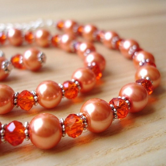Unique Orange Sparkle Bead Jewellery Set with Necklace Bracelet and Earrings - 18th Birthday Gift - Present for Her - Kitsch Crystal Jewelry