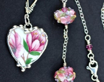 Necklace, Broken China Jewelry, Broken China Necklace, Heart Pendant, Lampwork Beads, Pink Azalea Flowers, Long Sterling Silver Chain