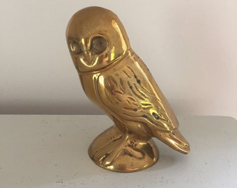 Vintage Brass Perched Owl