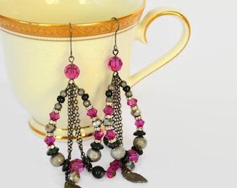 Bright pink, black, metallic silver glass pearl stardust and Swarovski crystal earrings