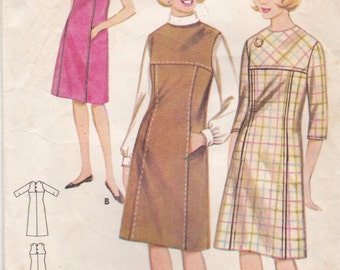 1960's Sewing Pattern - Butterick 3243 One piece Dress Size 16, Teen used and complete