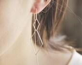 Long open double diamond chain earrings