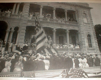 Raising The American Flag At The Government House, Honolulu *Antique Book Page*
