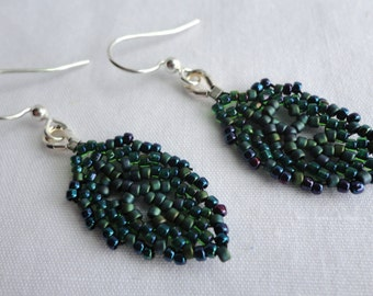 Small Elven Leaf earrings in Forest