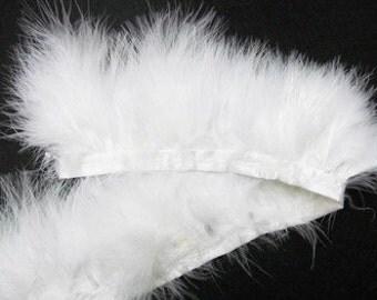 White Feather Ribbon Trim