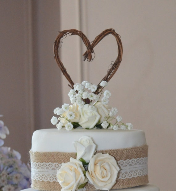 Etsy Cake Decor : Items similar to Engagement Party, Fall Wedding Decor, Rustic Heart Cake Topper on Etsy