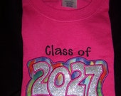 HOT PINK ---Keepsake CLASS of 2027 Shirt ---  Do You need a different Year? Have up to 64 color shirts to choose from