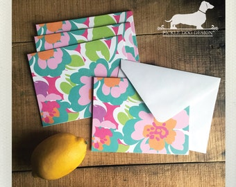 CLEARANCE! Aloha. Note Cards (Set of 5) -- (Vintage-Style, Shabby Chic, Baby Shower, Pink, Flower, Boho Chic, Thank You Card, Bridal Shower)