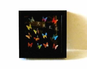 Wall Art, Butterfly Decor, Bohemian Art,  Scrabble Art, Wall Decor, Housewares, Ready To Ship Gift, Wall Hanging, Mixed Media Original