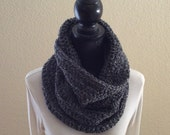 Edwardian Grey Hooded Cowl Neck Warmer Circle Snood Scarf Soft Cluster Crochet