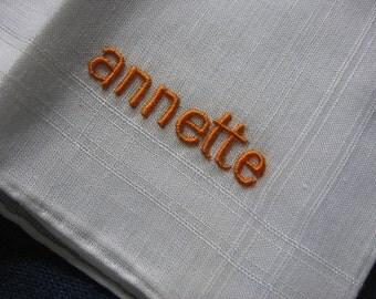 Annette Handkerchief Hankie Embroidered in Orange/Gold Thread on White Linen Vintage Accessory C 1950's Unused Original Label