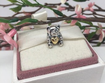 Authentic Pandora 14 kt and Silver Bear My Heart Limited Edition Charm For Bracelet