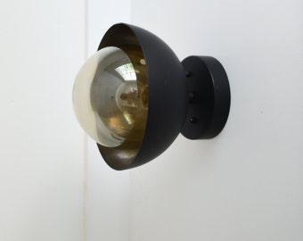 Flush Mount modern matte black light dome with smoked glass globe UL LISTED - Black Smoke