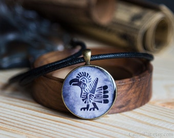 Tribal bird necklace for men in native american totem design. Thunderbird, totem pendant, unisex jewelry, big pendant, eagle jewelry