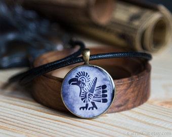 Tribal bird necklace for men in native american totem design. Thunderbird, totem pendant, unisex jewelry, big pendant, eagle jewelry