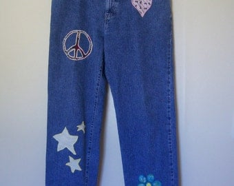 """Upcycled Vintage """"Tommy Hilfiger"""" Jeans, Straight Leg Denim Jeans, Hand Appliqued Hippie Jeans, High Waisted, Circa: Early 90's, Gift Item"""