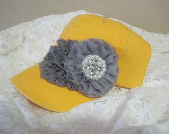 Youth Toddler Mustard Yellow and Grey Baseball Cap with Grey Chiffon Flowers with Pearl and Rhinestone Accent