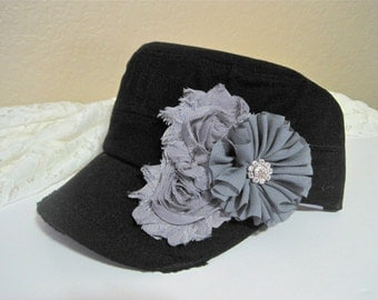 Black Cadet Military Distressed Army hat with Grey Chiffon Flower and Small Rhinestone Accent Baseball Cap Accessories