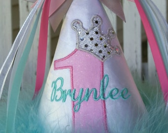 Girls Birthday Hat - Princess Party Hat - Girls 1st Birthday - Cotton Candy - Personalized - Ages 1 thru 9 - Photo Prop