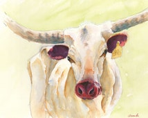 Texas longhorn print original cow painting longhorn painting longhorn art rustic ranch western art farm longhorn cattle art  big huge