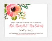 Wedding Save the Date (Kyle) - Digital Files or Deposit on Printing (Customizable Watercolor Flower Design)