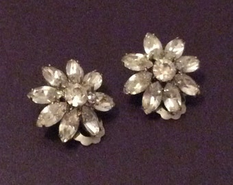 Crystal Glass Earrings, Bridal Vintage Jewelry, SUMMER SALE