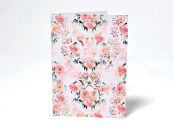 Hand Painted Floral Card. Rose. Duck Egg. Floral pattern. Greetings Card. Flowers. Wedding Card. Watercolour. ladies. Unique. Gift Card.