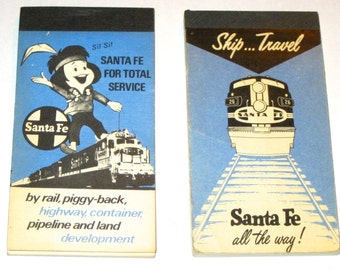 2 vintage Sante Fe railroad advertising note pads