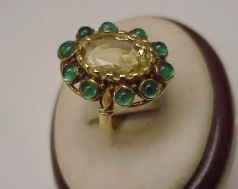 Unique Vctorian 18k Yellow Gold Genuine Huge Citrine Emerald Ring,1820-60's
