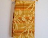 Vintage Fabric, Mustard Yellow Foliage Print, Upholstery/Drapery Weight Fabric Yardage, Vintage Fabric by the Yard