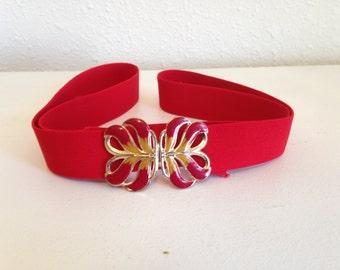 Vintage Stretch Belt, Red 80s Belt, Vintage Cinch Belt, Red Elastic Belt, Metal Leaf Buckle, Skinny Elastic Belt