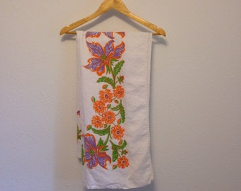 "Vintage Floral Tablecloth, White Table Cloth with Orange Purple and Green Flowers 50"" x 49"""